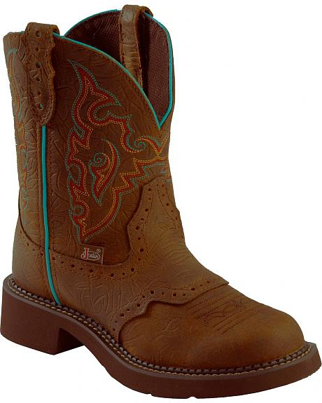 Justin Barnwood Brown Gypsy Boots - Round Toe