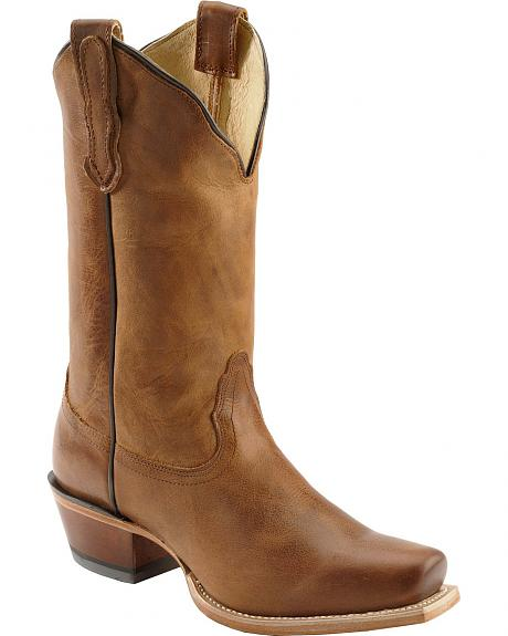 Nocona Old West Tan Cowgirl Boots - Square Toe