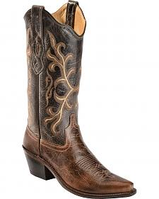 Old West Embroidered & Distressed Cowgirl Boots - Snip Toe