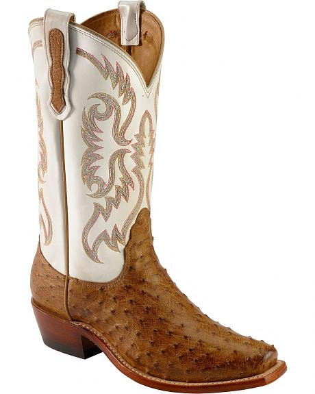 Nocona Full Quill Ostrich Half Moon Cowgirl Boots - Square Toe