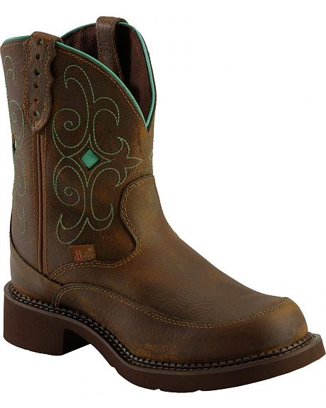 Justin Gypsy Teal Stitched Cowgirl Boots - Round Toe