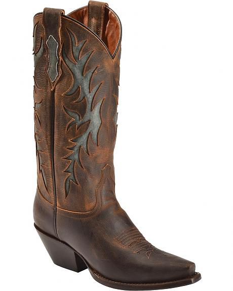 Red Ranch Fancy Inlay Cowgirl Boots - Snip Toe