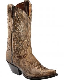 Red Ranch Distressed Inlay Cowgirl Boots - Snip Toe