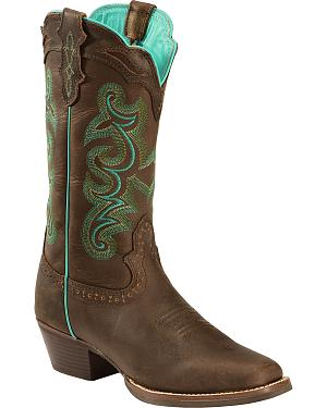 Justin Silver Turquoise Stitched Cowgirl Boots - Square Toe