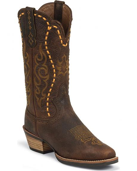 Justin Silver Leather Laced Cowgirl Boots - Square Toe