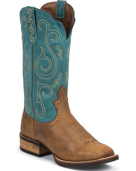 Justin Silver Cattleman Cowgirl Boots - Square Toe
