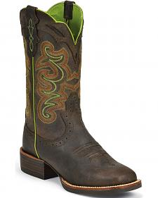 Justin Silver Chocolate Cattleman Cowgirl Boots - Square Toe