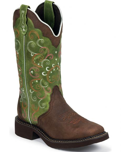 Justin Gypsy Walnut Cowgirl Boots - Square Toe
