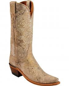 Lucchese Handcrafted 1883 Stone Metallic Python Print Cowgirl Boots - Snip Toe