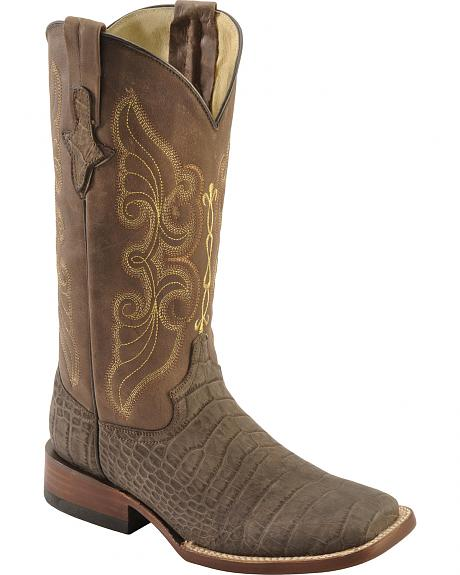 Ferrini Suede Alligator Print Cowgirl Boots - Wide Square Toe