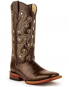 Ferrini Chocolate Alligator Belly Print Cowgirl Boots - Wide Square Toe