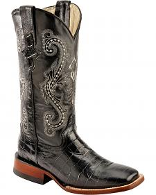 Ferrini Alligator Print Cowgirl Boots - Wide Square Toe