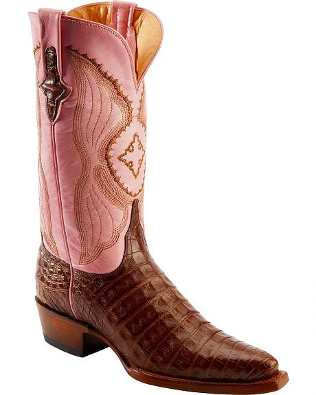 Ferrini Blush Pink Caiman Belly Cowgirl Boots - Snip Toe