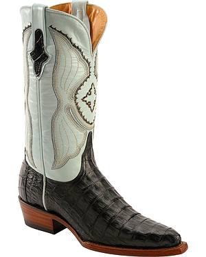Ferrini Powder Blue Caiman Belly Cowgirl Boots - Snip Toe