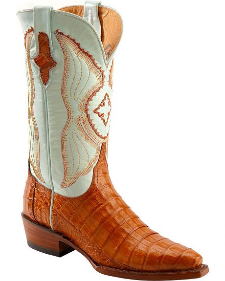 Ferrini Cognac Caiman Belly Cowgirl Boots - Snip Toe