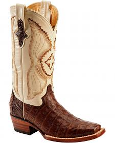 Ferrini Chocolate Caiman Belly Cowgirl Boots - Square Toe