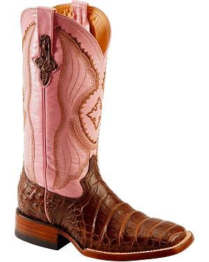 Ferrini Blush Pink Caiman Belly Cowgirl Boots - Wide Square Toe