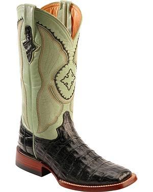 Ferrini Caiman Belly Crocodile Cowgirl Boots - Wide Square Toe