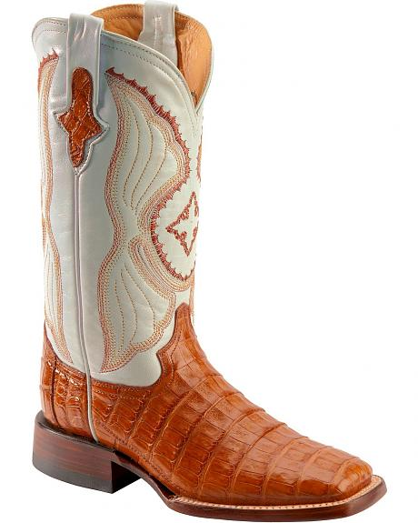 Ferrini Cognac Caiman Belly Cowgirl Boots - Wide Square Toe