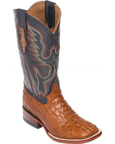 Ferrini Cognac Hornback Caiman Cowgirl Boots - Wide Square Toe