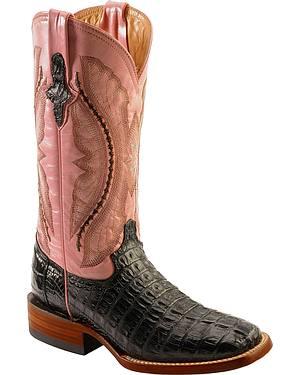 Ferrini Black Hornback Caiman Cowgirl Boots - Wide Square Toe