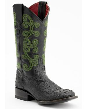 Ferrini Caiman Croc Print Leather Cowgirl Boots - Square Toe