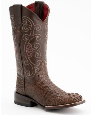 Ferrini Rusty Caiman Print Cowgirl Boots - Wide Square Toe