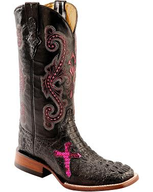 Ferrini Caiman Croc Print Cross Cowgirl Boots - Wide Square Toe