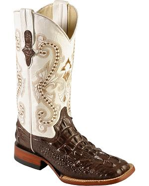 Ferrini Hornback Caiman Print Cowgirl Boots - Wide Square Toe