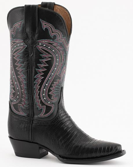 Ferrini Black Lizard Cowgirl Boots - Snip Toe