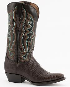 Ferrini Chocolate Lizard Cowgirl Boots - Snip Toe