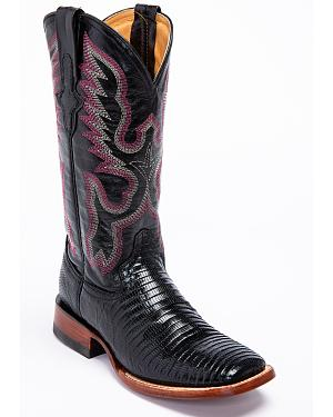 Ferrini Black Lizard Cowgirl Boots- Wide Square Toe