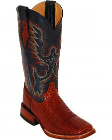 Ferrini Lizard Saddle Vamp Cowgirl Boots - Wide Square Toe