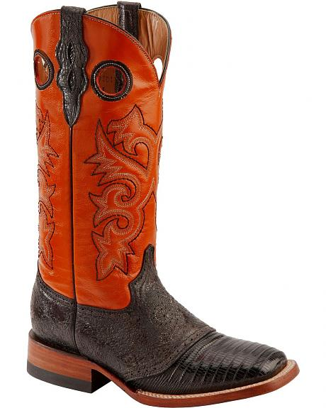 Ferrini Peanut Lizard Cowgirl Boots - Wide Square Toe
