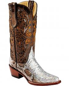 Ferrini Iridescent Python Print Leather Cowgirl Boots - Snip Toe