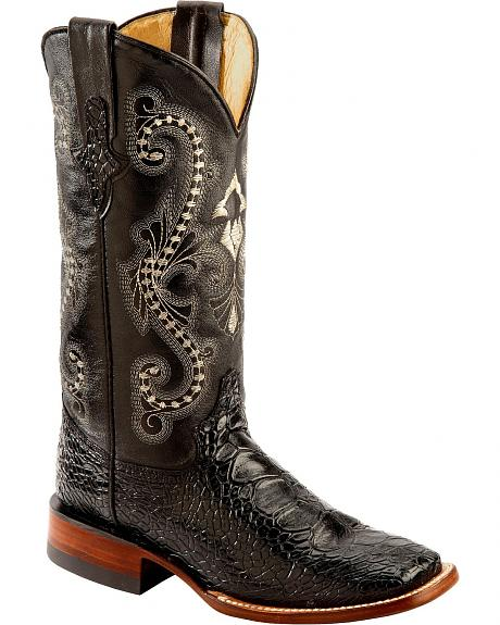 Ferrini Black Turtle Print Cowgirl Boots - Wide Square Toe
