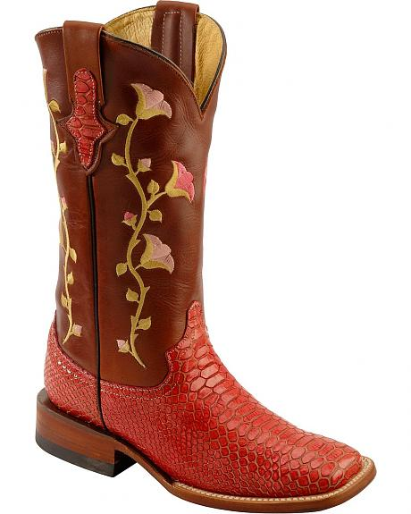 Ferrini Pink Snakeskin Print with Floral Embroidery Cowgirl Boots - Square Toe