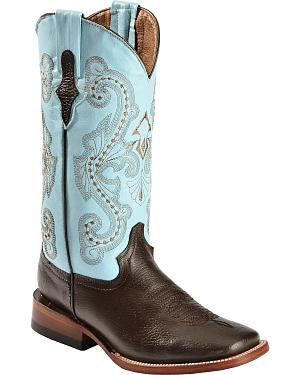 Ferrini Chocolate Cowgirl Boots - Wide Square Toe