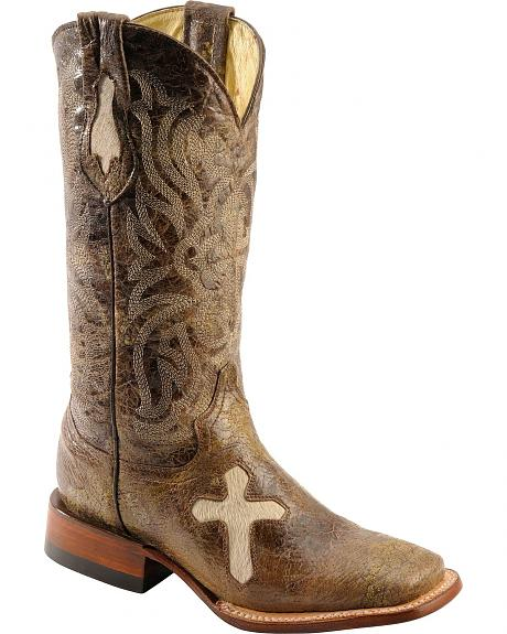 Ferrini Distressed Cowhide Cross Cowgirl Boots - Wide Square toe