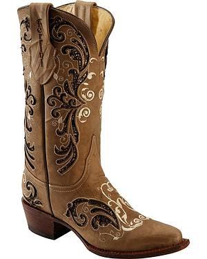 Ferrini Fancy Rockstar Inlay Cowgirl Boots - Snip Toe