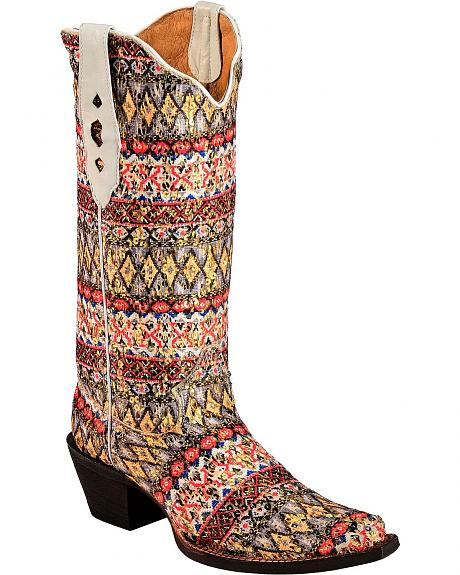Tanner Mark Aztec Serape Fabric Cowgirl Boots - Pointed Toe
