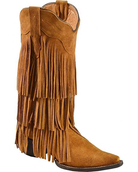 Tanner Mark Buttercup Suede Fringe Cowgirl Boots - Pointed Toe