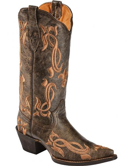 Tanner Mark Fleur-de-lis Embroidered Crackle Cowgirl Boots - Pointed Toe