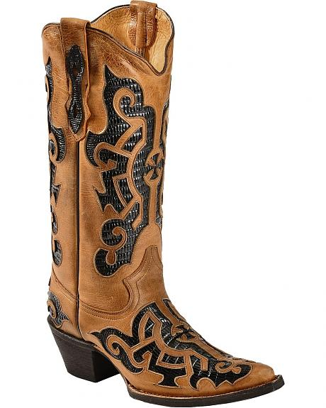 Tanner Mark Barcelona Lizard Print Inlay Cowgirl Boots - Pointed Toe