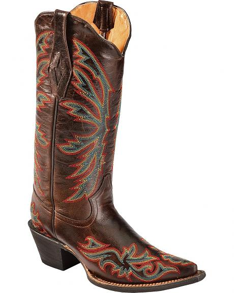 Tanner Mark Barcelona Chocolate Stitched Cowgirl Boots - Pointed Toe