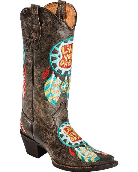 Tanner Mark Dream Catcher Live Your Dream Cowgirl Boots - Pointed Toe
