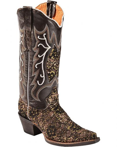 Tanner Mark Lace Overlay Cowgirl Boots - Pointed Toe