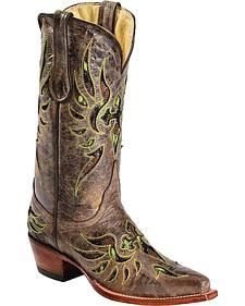 Ferrini Fabric Glitter Inlay Cross Distressed Cowgirl Boots - Snip Toe