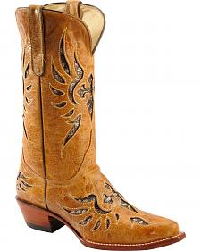 Ferrini Glitter Laser Inlay Cowgirl Boots - Snip Toe