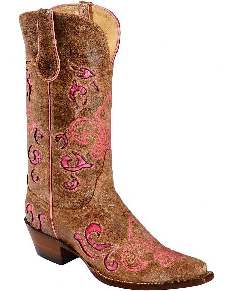 Ferrini Croc Print Laser Inlay Fleur-De-Lis Embroidered Cowgirl Boots - Snip Toe